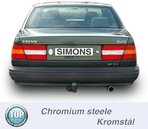 Simons Chromstahl Auspuffanlage 1x80mm rund Volvo 940 Turbo Limousine/Caravan Baujahr 91-