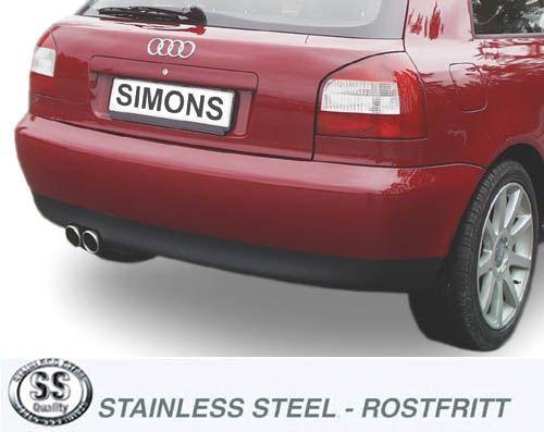Simons Stainlesssteel Exhaustsystem 2x80 mm round Audi A3 ( 8L ) Turbo  1 8T/1 8Ti/1 9TDI Model 96-5/03