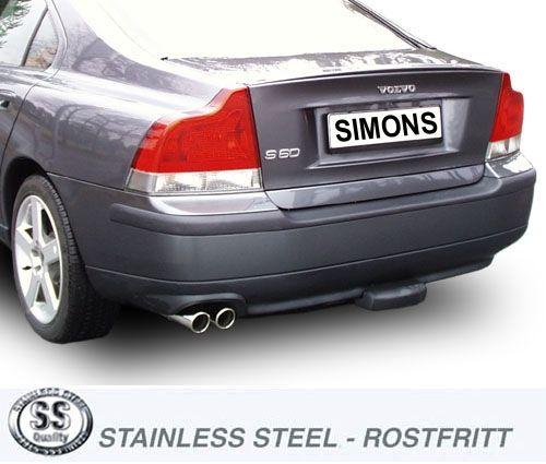 Simons Edelstahl Auspuffanlage 2x70 mm rund für Volvo S60 R Baujahr 03-