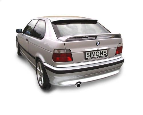 Simons aluminisierte Stahl Auspuffanlage 1x80 mm rund für BMW E36 316i Compact Baujahr 94-99
