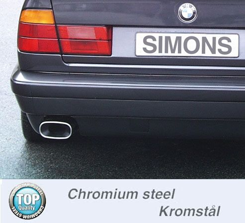 Simons Stahlanlage 85x150 mm flachoval für BMW E34 Limousine/Touring 520I 24V/110 kW ab Baujahr 9/90