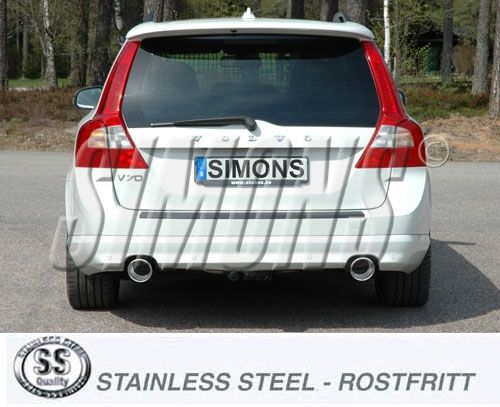 Simons Duplex Stainlesssteel Exhaustsystem 2x100mm round Volvo V70 III 4WD D5 Model 08-