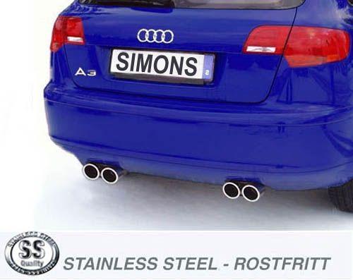 Simons Duplex Edelstahlanlage 2x80 mm rund für Audi A3 (8PA) 2WD Sportback 2.0 TFSi 200 PS Baujahr 2
