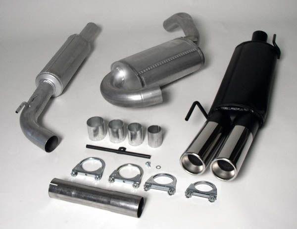 Simons aluminisierte Stahl Auspuffanlage 2x80 mm rund für VW Golf III 1.4/1.6/1.8/1.9D/1.9TD/1.9TDI/