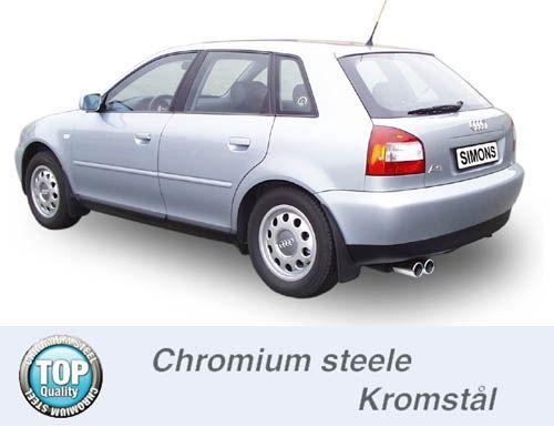 Simons aluminized Steel Exhaustsystem 2x80 mm round Audi A3 ( 8L ) 1.6/1.8/1.8T/1.9TDI Model 96-5/03