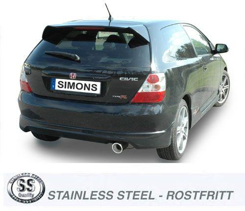Simons Edelstahl Auspuffanlage 1x100mm rund Honda Civic 2.0i C-TEC Type R 200PS Baujahr 02-
