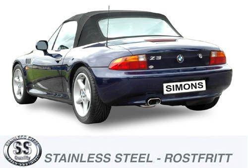 Simons Edelstahlanlage 70x140 mm flach oval für BMW E36 Z3 1.8 8V Baujahr 96-98