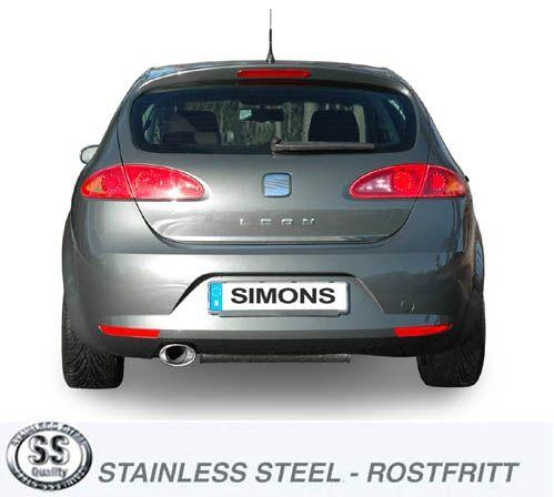 Simons Edelstahlanlage 90/140 mm oval für Seat Leon 2.0TFSI/TFSi-FR Baujahr 06-