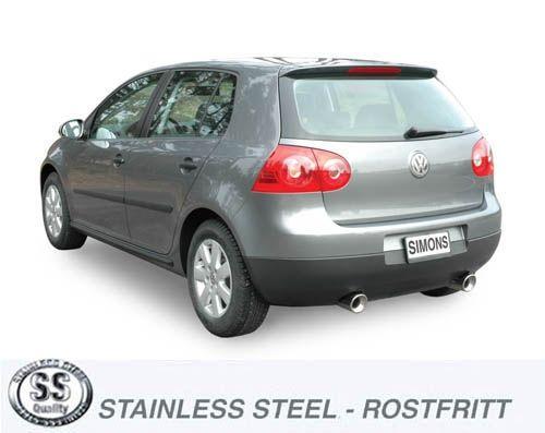 Simons Duplex Stainlesssteel Back Silencer 2x100 mm round VW Golf V/VI 1.4-2.0