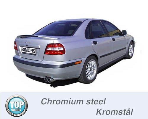 Simons Chromstahl Auspuffanlage 2x80 mm rund für Volvo S40/V40 1.8/2.0 Baujahr 96-00
