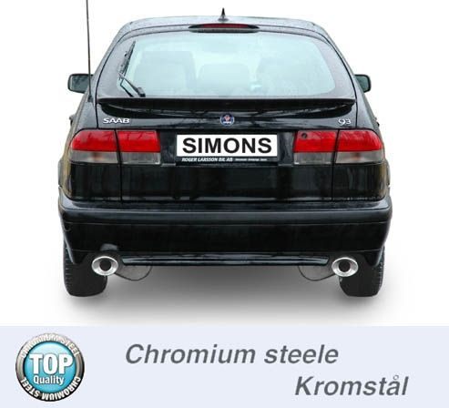 Simons Duplex Chromsteel Exhaustsystem 2x90/120mm oval Saab 9-3 2.0T Coupe/Cabrio Model 98-02