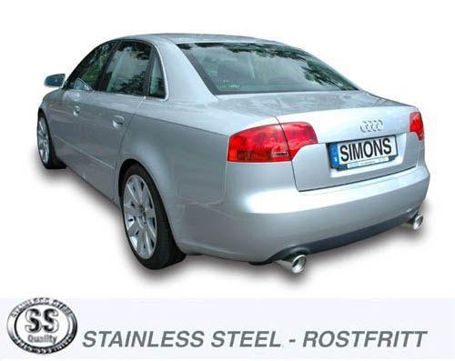 Simons Duplex Edelstahl-Endschalldämpfer je 1x100 mm rund für Audi A4 (B7) Limousine/Avant nicht Qua