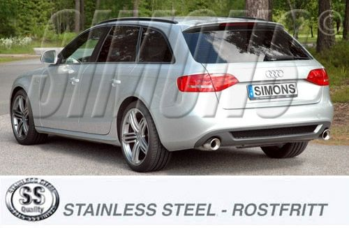 simons duplex stainlesssteel back silencer 2x100 mm round audi a4