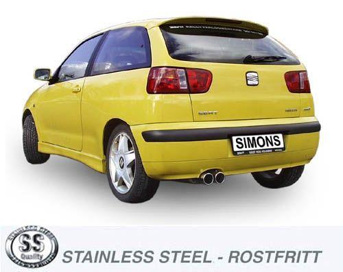 Simons Edelstahlanlage 2x80 mm rund für Seat Ibiza 1.8T Cupra/Turbo Sport 156PS Baujahr 00-02