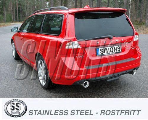 Simons Duplex Edelstahl Auspuffanlage 2x100mm rund Volvo V70 III 2.5T 2WD Baujahr 08-
