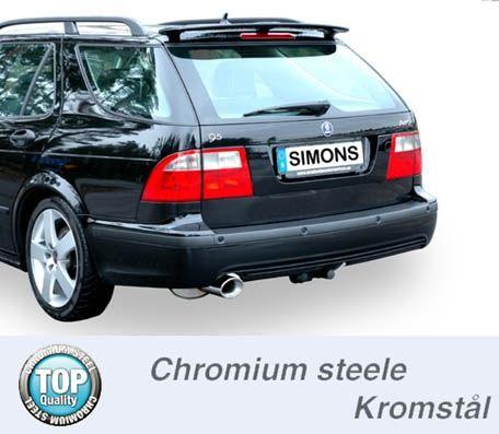 Simons Chromsteel Exhaustsystem 1x90120mm oval Saab 9-5 Turbo 2.0/2.3/Aero Saloon/Estate Model 04-