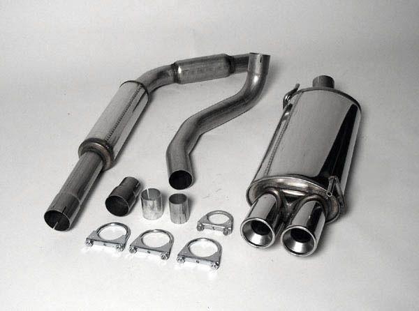 Simons Edelstahlanlage 2x80 mm rund für VW Polo B (6/N) Coupé 1.1/1.3/1.4/1.6 Baujahr 10/94-01