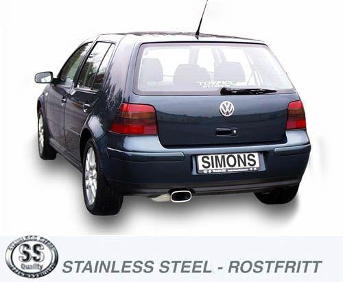 Simons Edelstahl Auspuffanlage 85/150 mm flachoval für VW Golf IV Turbo 1.8T/1.9TDI/1.9SDI Baujahr
