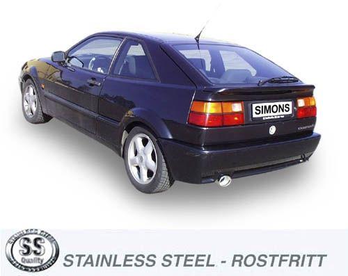 Simons Edelstahl Auspuffanlage 90/120 mm oval für VW Corrado 2.9 VR6 ab Baujahr 8/91