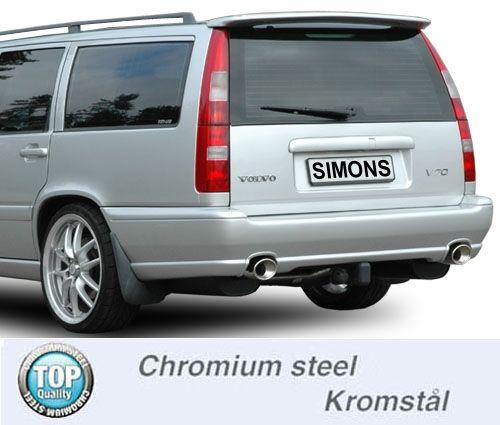 Simons Duplex Chromsteel Exhaustsysten 1x90/120mm oval Volvo S70/V70 Turbo 4WD Model -00