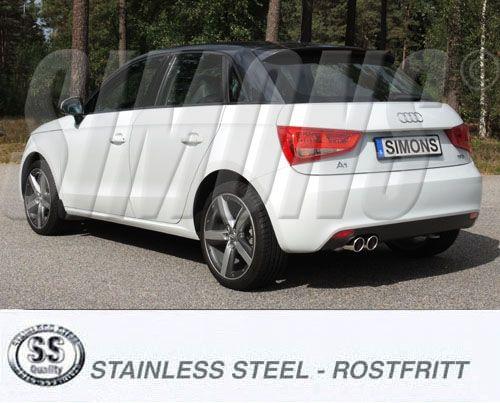 Simons Edelstahlanlage 2x80 mm rund für VW Polo GTi (6R), Audi A1 1.4TSi Baujahr 2010-