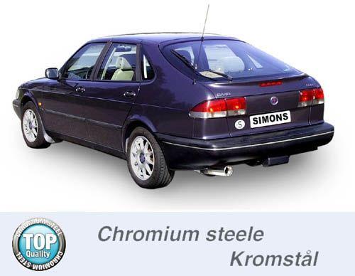 Simons Chromstahl Auspuffanlage 1x90mm rund Saab 900i 2.0T Coupe/Cabrio Baujahr 94-