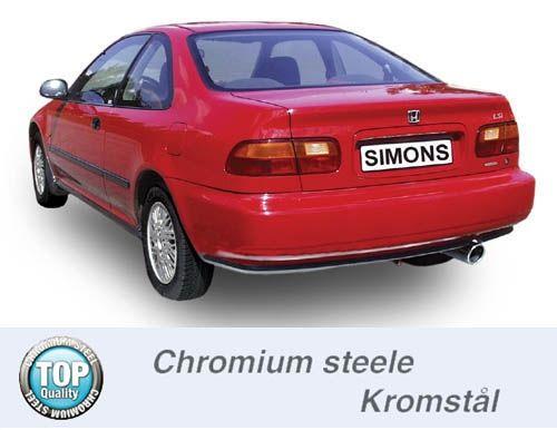 Simons Chromstahl Endschalldämpfer 1x100mm Honda Civic Limousine/Coupe 3 Türer 1.3-1.6 Baujahr 92-00