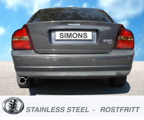 Simons Stainlesssteel Exhaustsystem 1x90mm round Volvo S80 Turbo 2WD 2.0T/2.4T/2.5T/T6 Model 98-06