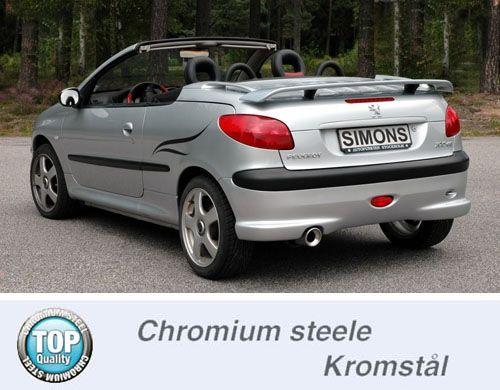 Simons Chromstahl Auspuffanlage 1x100mm rund Peugeot 206 2.0GTi CC
