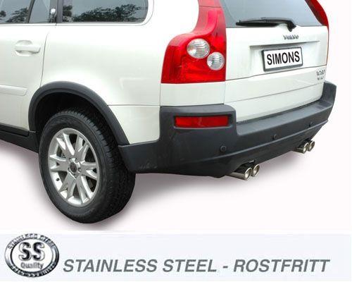 Simons Duplex Edelstahl Auspuffanlage 2x80mm rund Volvo XC 90 2.5T/T6/D5/V8 Baujahr 03-