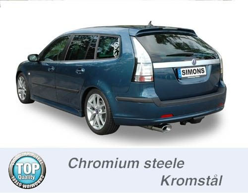 Simons Chromstahl Auspuffanlage 1x85/150mm flachoval Saab 9-3 1.8T/2.0T Sport Limousine/Sport Carava