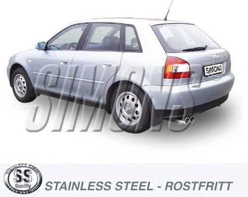 Simons Edelstahlanlage 2x80 mm rund für Audi A3 ( 8L ) Turbo 1.8T/1.8Ti/1.9TDI Baujahr 96-5/03