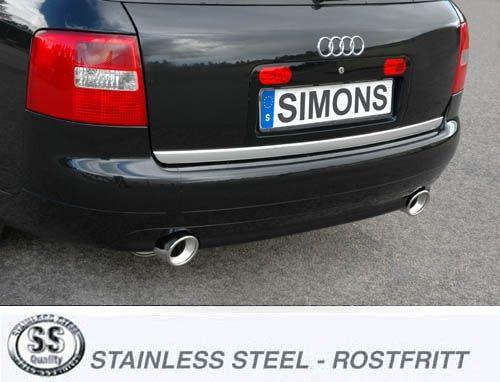 Simons Duplex Edelstahl Auspuffanlage 2x100 mm rund für Audi A6 (C5) Quattro 1.8T Baujahr 97-01