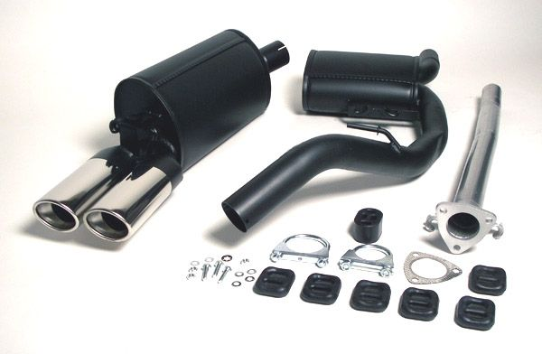 Simons aluminisierte Stahl Auspuffanlage 2x70/90mm oval Opel Calibra 2.0 8V 85kW /2.0 16V 110kW
