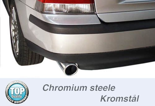 Simons Chromstahl Auspuffanlage 1x90 mm rund für Volvo S60 2WD 2.4 140-170PS Baujahr 01-