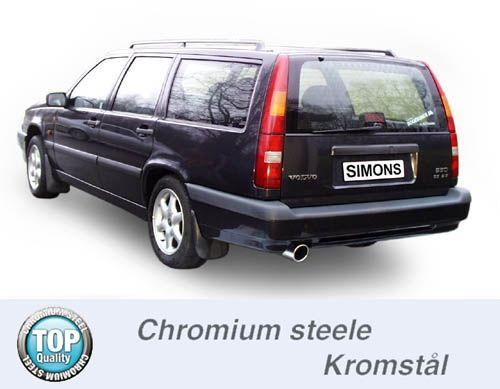 Simons Chromstahl Auspuffanlage 1x100mm rund Volvo 850 GLT/GLE Limousine/Caravan Baujahr 92-96