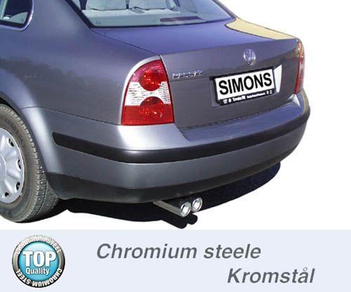 Simons Chromstahl Auspuffanlage 2x80 mm rund für VW Passat Typ 3B 1.6/1.8T/1.9TDI/2.3 V5 ab Baujahr