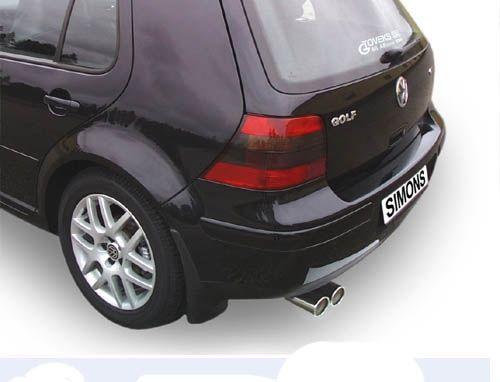 Simons aluminisierte Stahl Auspuffanlage 2x80 mm rund für VW Golf IV 1.4/1.6/1.8/1.8T/1.9TDI/1.9SDI/