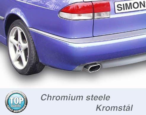 Simons Chromstahl Auspuffanlage 1x70/140mm flachoval Saab 9-3 Viggen/Aero Version II Baujahr 01-02