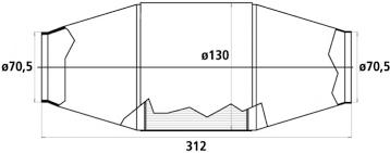 HJS HD Universalkatalysator 200CPSI Ø70.5mm