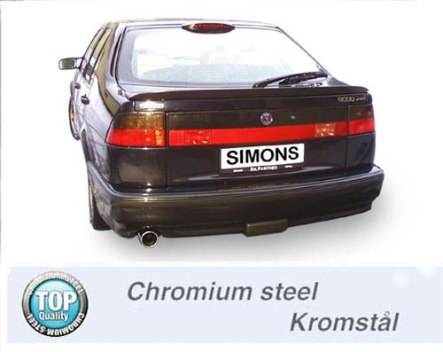 Simons Chromsteel Exhaustsystem 1x90 round Saab 9000i CS 2.0/2.3 Model 92-