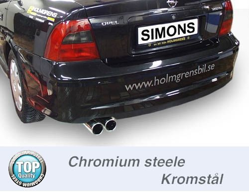 Simons Chromstahl Endschalldämpfer 2x80mm rund Opel Vectra B 1.6 8V/1.6 16V/1.8 16V/2.0 16V/2.2 16V/