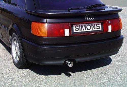 Simons aluminisierte Stahl Auspuffanlage 1x80mm Audi 80/90/Coupe Typ 89 1.6/1.8/1.9/2.0/2.2/2.3