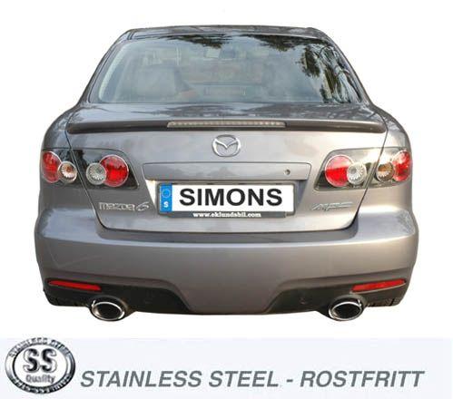 Simons Duplex Edelstahl Auspuffanlage 1x90x120mm oval Mazda 6 MPS Baujahr 05-