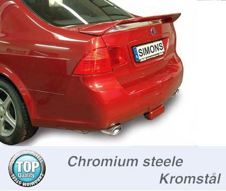 Simons Duplex Chromsteel Exhaustsystem 1x90120mm oval Saab 9-5 Turbo 2.0/2.3/Aero Saloon/Estate Model 04-