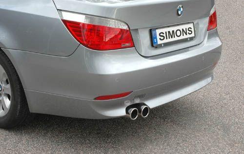 Simons Edelstahl Endschalldämpfer 2x80 mm rund für BMW E60 Limousine 520i/523i/525i/530i Baujahr 03-