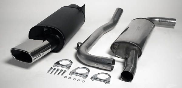 Simons Chromstahl Auspufflanlage 85/150 mm flachoval für Volvo S40/V40 1.8/2.0 Baujahr 01-03