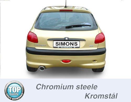 Simons Chromstahl Endschalldämpfer 1x100mm rund Peugeot 206 1.4/1.6 XS Baujahr 98-