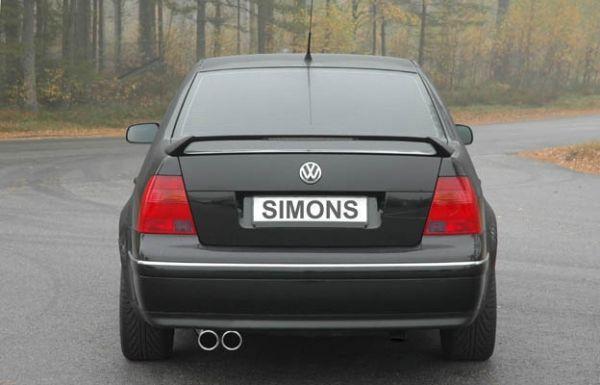 Simons aluminisierte Stahl Auspuffanlage 2x80 mm rund für VW Bora 1.4/1.6/1.8/1.8T/1.9TDI/1.9SDI/2.0