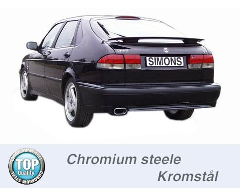 Simons Chromsteel Exhaustsystem 1x70/140mm oval Saab 9-3 2.0T Coupe/Cabrio Model 98-02